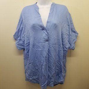 Vince M Blue Silk Top V Neck Dolman Sleeve Popover